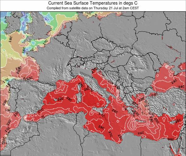 Italy Sea Temperature Map