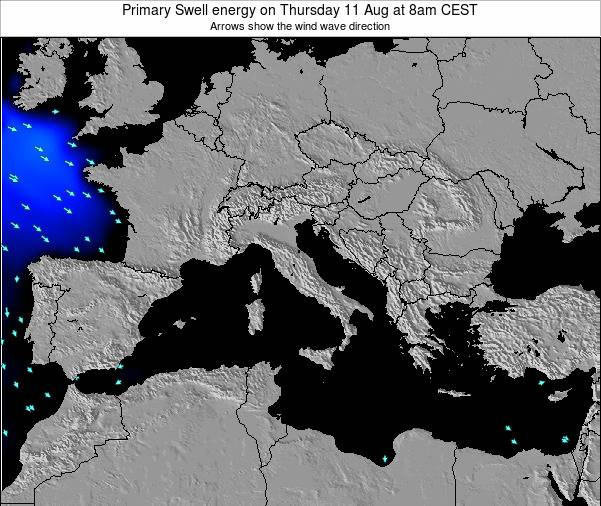 Italy Primary Swell energy on Friday 29 Jun at 2am CEST map