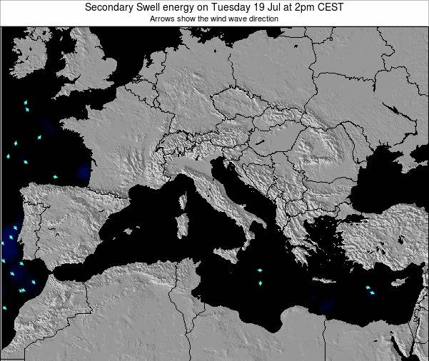 Malta Secondary Swell energy on Tuesday 18 Dec at 7am CET map