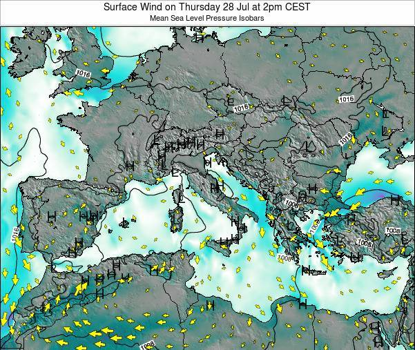 Malta Surface Wind on Sunday 26 May at 2pm CEST map