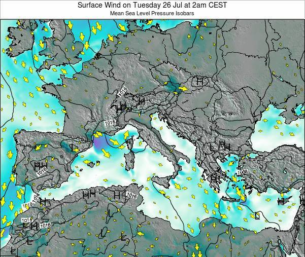 Malta Surface Wind on Wednesday 22 May at 2pm CEST map