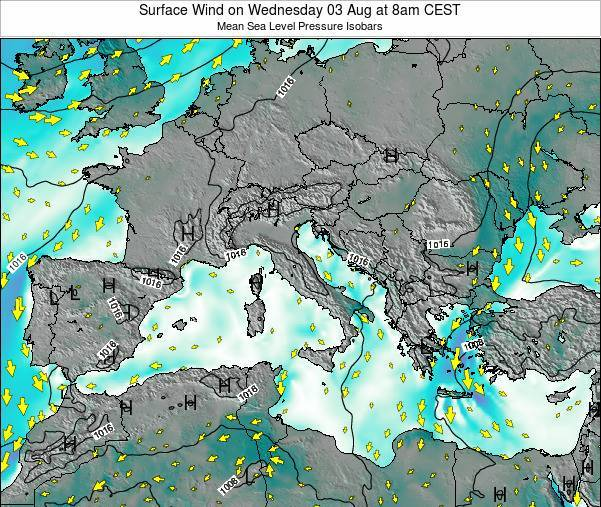 Malta Surface Wind on Tuesday 21 May at 2am CEST map