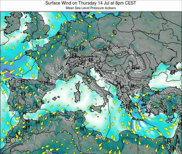 Malta Surface Wind on Saturday 21 Jul at 2am CEST map
