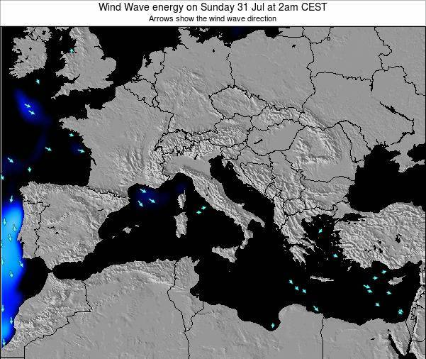 Italy Wind Wave energy on Saturday 25 May at 2am CEST