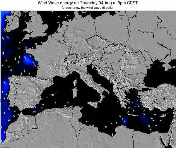 Italy Wind Wave energy on Monday 27 May at 2am CEST