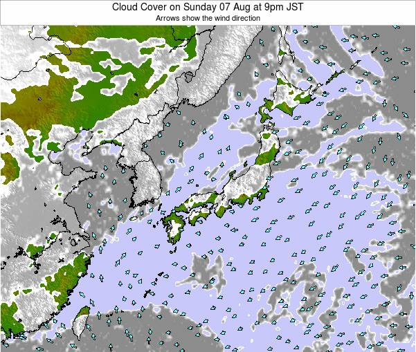 Japan Cloud Cover on Friday 31 May at 3am JST map