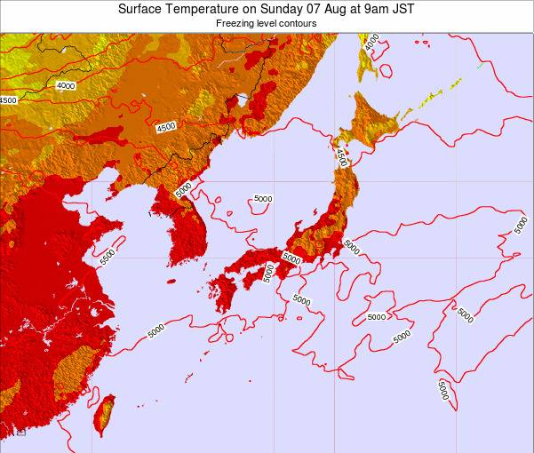 Japan Surface Temperature on Wednesday 19 Jun at 3pm JST