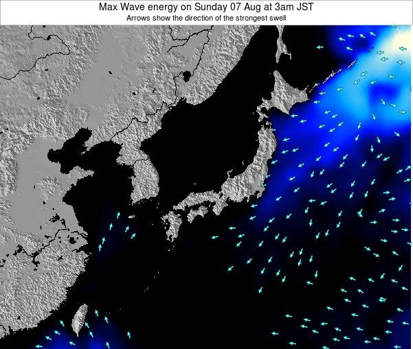 Japan Max Wave energy on Saturday 26 Jul at 3pm JST