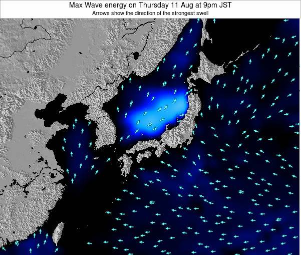Japan Max Wave energy on Monday 17 Mar at 9pm JST