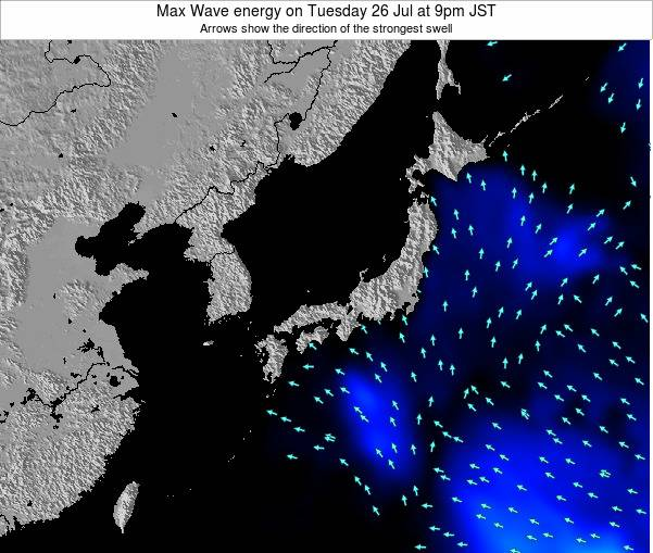 Japan Max Wave energy on Monday 28 Jul at 3pm JST