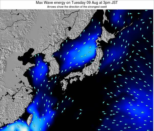 Japan Max Wave energy on Tuesday 10 Dec at 9am JST