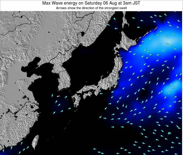 Japan Max Wave energy on Thursday 13 Mar at 9am JST