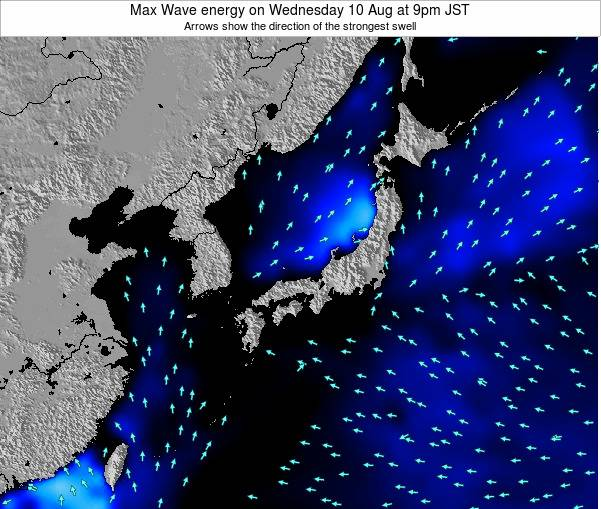 Japan Max Wave energy on Sunday 03 Aug at 9am JST
