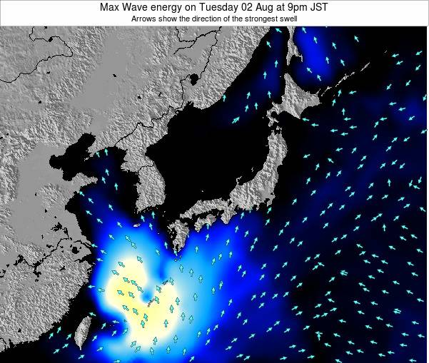Japan Max Wave energy on Tuesday 22 Apr at 9pm JST