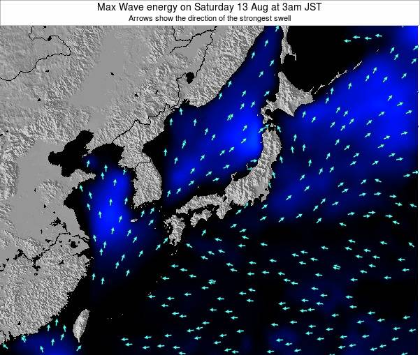 Japan Max Wave energy on Saturday 15 Mar at 9am JST