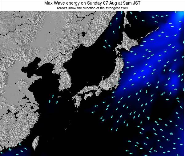 Japan Max Wave energy on Tuesday 26 Jun at 9am JST map