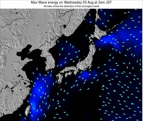 Japan Max Wave energy on Sunday 11 Oct at 9am JST