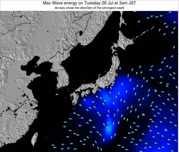 Japan Max Wave energy on Sunday 08 Dec at 9pm JST