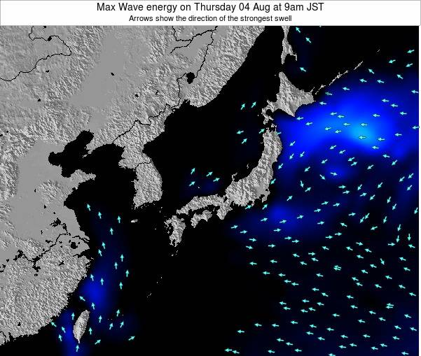 Japan Max Wave energy on Wednesday 27 Jul at 9pm JST