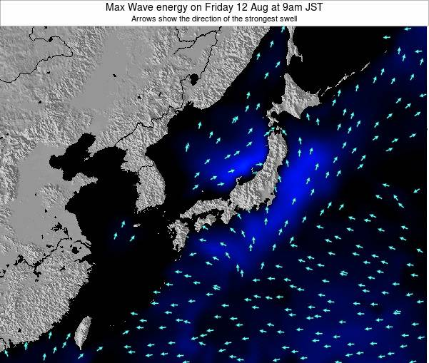 Japan Max Wave energy on Sunday 15 Dec at 9pm JST