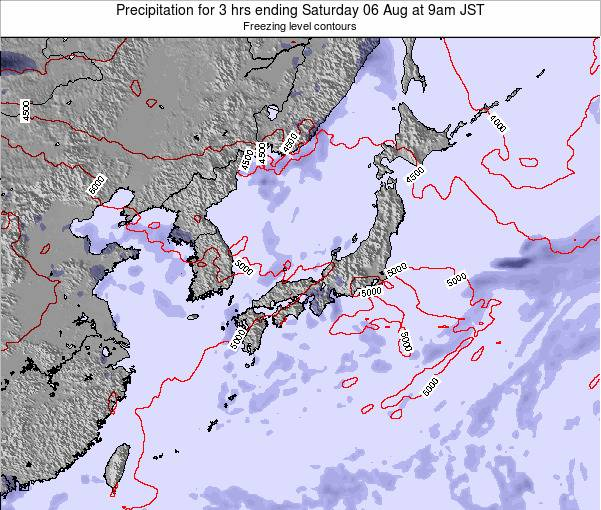 Japan Precipitation for 3 hrs ending Thursday 14 Dec at 3pm JST map