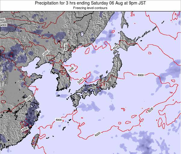 Japan Precipitation for 3 hrs ending Wednesday 26 Apr at 3am JST