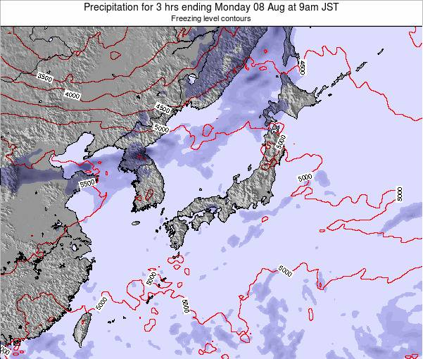 Japan Precipitation for 3 hrs ending Tuesday 03 Mar at 3pm JST