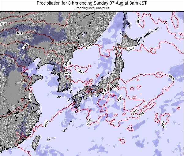 Japan Precipitation for 3 hrs ending Saturday 27 Aug at 3am JST