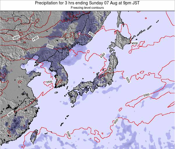 Japan Precipitation for 3 hrs ending Thursday 24 Apr at 9pm JST