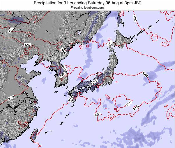 Japan Precipitation for 3 hrs ending Thursday 05 Dec at 3pm JST