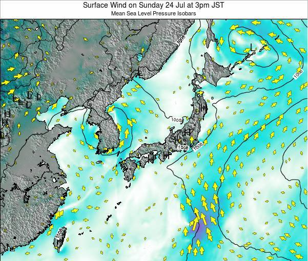 Japan Surface Wind on Wednesday 22 May at 9pm JST map