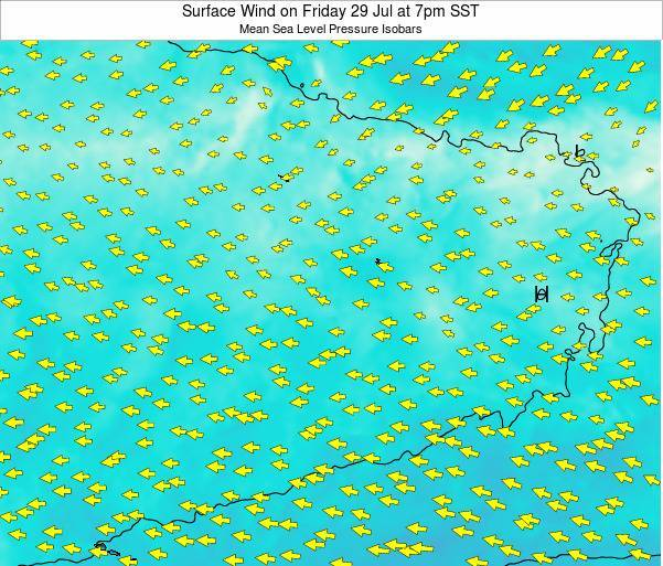 Jarvis Island Surface Wind on Saturday 15 Mar at 7am SST map