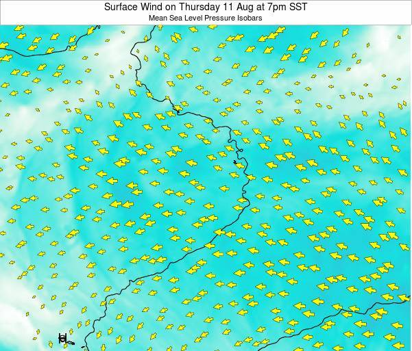 Jarvis Island Surface Wind on Thursday 24 Apr at 1pm SST map