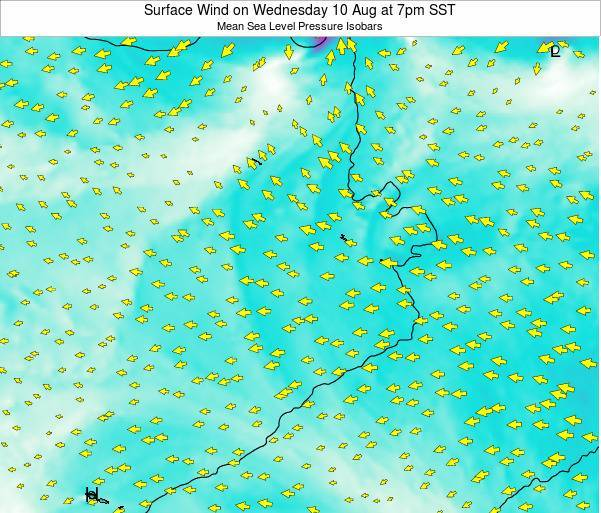 Jarvis Island Surface Wind on Tuesday 29 Jul at 1pm SST map