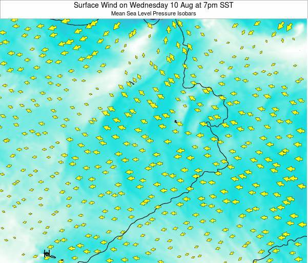 Jarvis Island Surface Wind on Saturday 25 May at 7am SST map