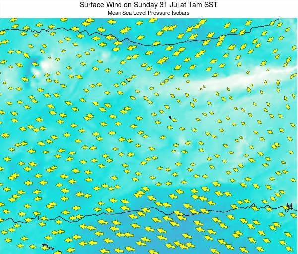 Jarvis Island Surface Wind on Monday 20 May at 7am SST map