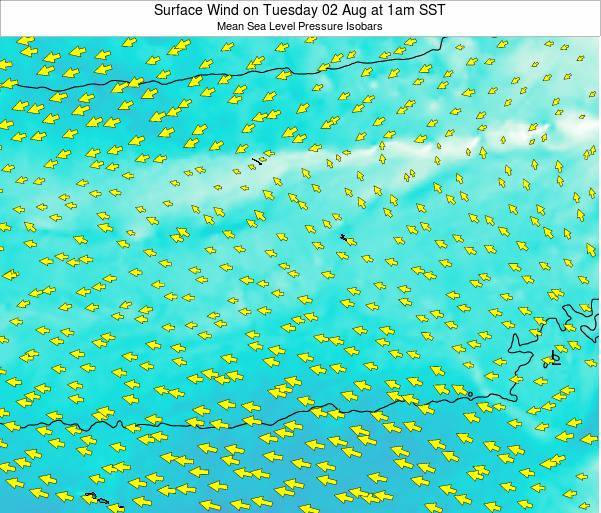 Jarvis Island Surface Wind on Thursday 23 May at 1am SST map