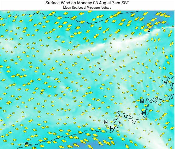 Jarvis Island Surface Wind on Tuesday 21 May at 1pm SST map