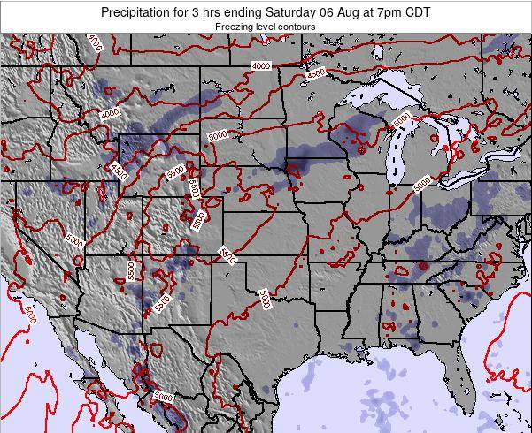 Kansas Precipitation for 3 hrs ending Thursday 20 Jun at 7am CDT map