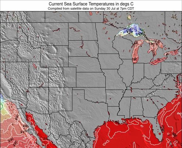 Oklahoma Sea Temperature Map