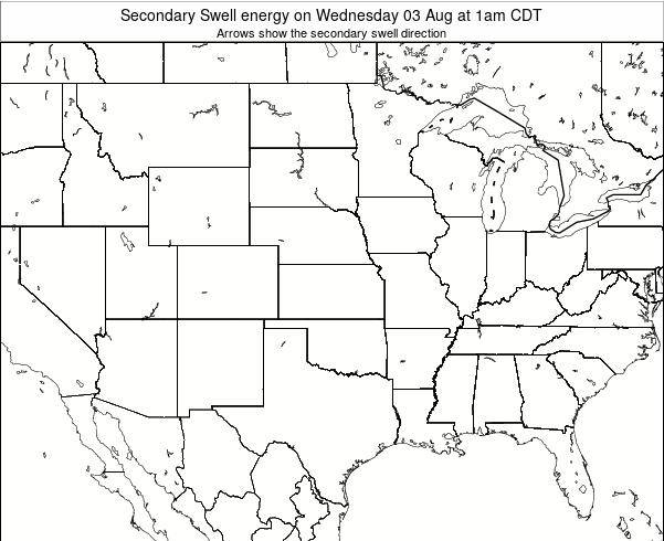Oklahoma Secondary Swell energy on Saturday 23 Mar at 1am CDT map