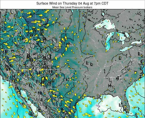 Kansas Surface Wind on Sunday 19 May at 1pm CDT map