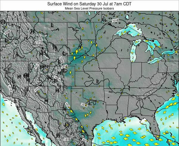 Oklahoma Surface Wind on Friday 22 Mar at 1am CDT map