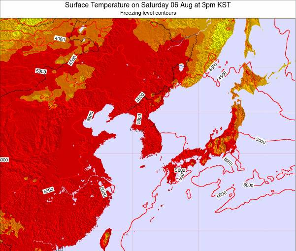 South Korea Surface Temperature on Monday 27 May at 9pm KST