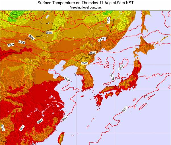 South Korea Surface Temperature on Sunday 26 May at 3am KST