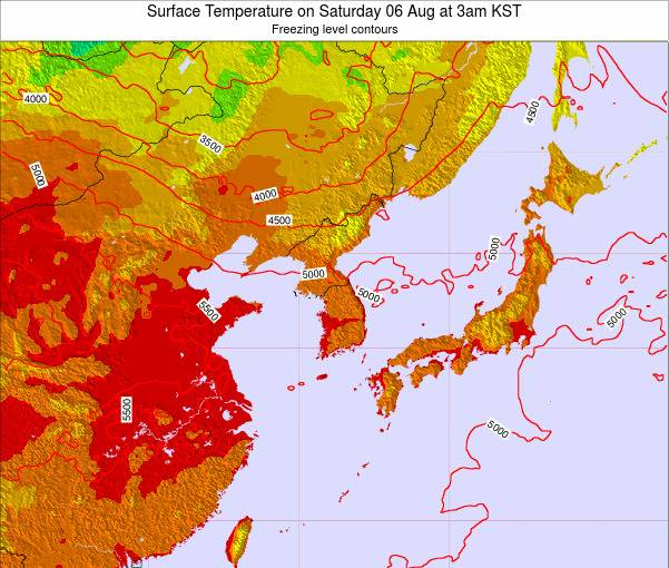 South Korea Surface Temperature on Saturday 25 May at 3am KST