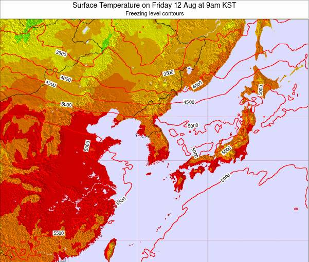 South Korea Surface Temperature on Tuesday 25 Jun at 3pm KST