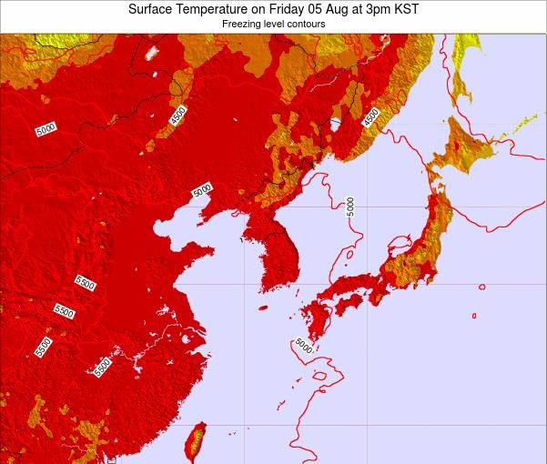 South Korea Surface Temperature on Tuesday 21 May at 9pm KST