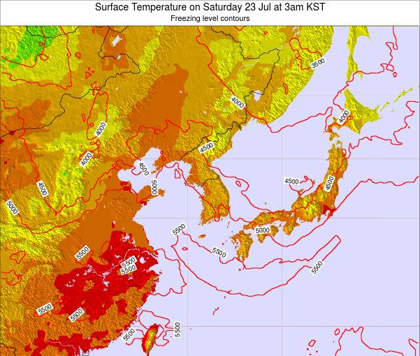 South Korea Surface Temperature on Thursday 20 Jun at 3pm KST