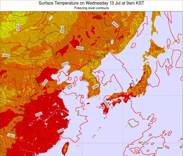South Korea Surface Temperature on Friday 24 May at 3am KST